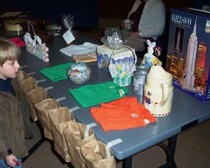 Raffle table at a rabbit show